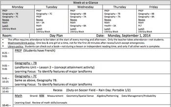"""Day Plan Template with """"Week-at-a-Glance"""" for All Grades"""