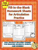 Fill-in-the-Blank Homework Sheets for Articulation Practic