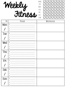 Weekly Fitness Tracker - Planner Add On