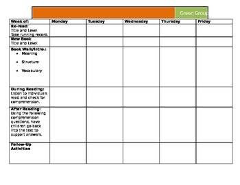 Weekly Guided Reading Lesson Template