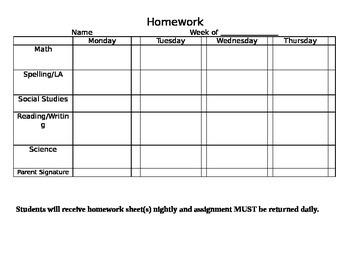 Weekly Homework Calendar