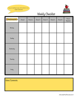 Weekly Homework Planner- Student