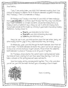 Weekly Homework Recording Sheet: A Parent Letter