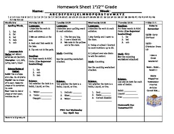 Weekly Homework Sheet