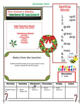 December Weekly Homework Sheet