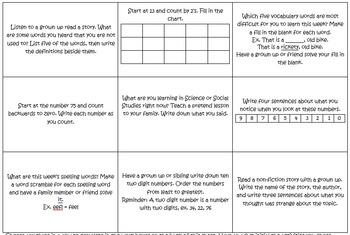 Weekly Homework Tic Tac Toe/Choice Boards 36 Week Packet (