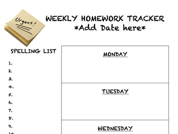 Weekly Homework Tracker for Elementary Grades