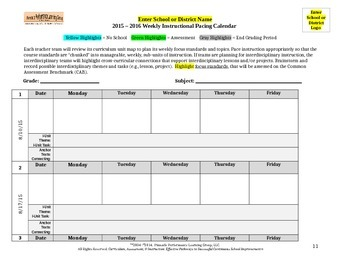Weekly Instructional Pacing Calendar