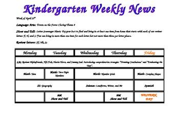 Weekly Kindergarten News