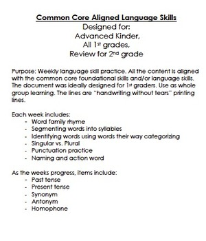 Weekly Language Skills for Primary Grades: Common Core Aligned