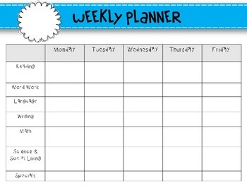 Weekly Lesson Planning Templates