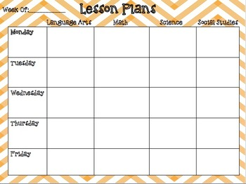 Weekly Lesson Plan Editable Template