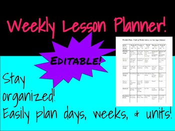 Weekly Lesson Planner - Fully Editable