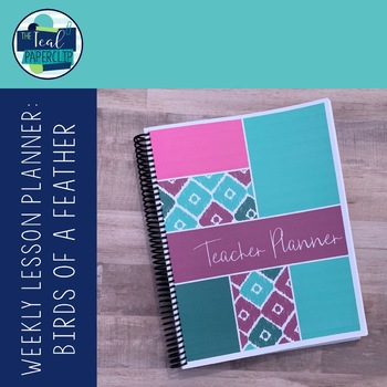 Editable Weekly Lesson Planner : Teal, Magenta, Aqua