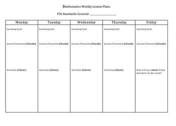 Weekly Mathematics Lesson