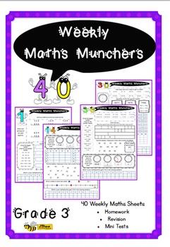 Grade 3 Weekly Maths Munchers: 40 Worksheets for Homework,