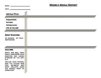 Weekly Media Report Template