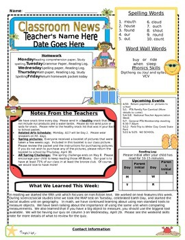 Weekly Newsletter Cover Sheet Template - May/June