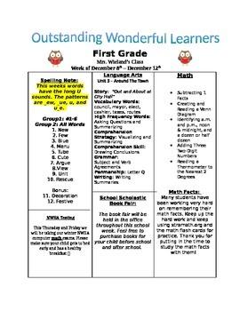 Weekly Newsletter & Homework Guide Template
