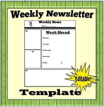 Weekly Newsletter Template- Ediable!