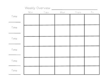 Weekly Overview Lesson Plan
