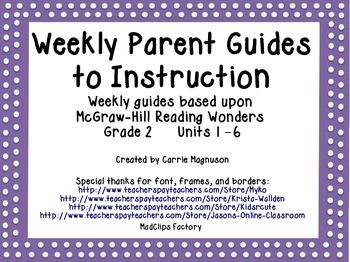 Weekly Parent Guides to Instruction - Reading Wonders - Gr