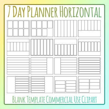 Weekly Planner / Journal Blank Horizontal Templates Clip A