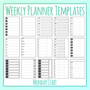 Weekly Planner Monday Start Templates Clip Art for Commercial Use