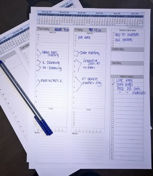 2016-2017 Weekly Planner with Lined Notes