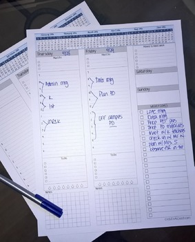 2016-2017 Weekly Planner with Notes Grid