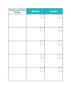 Weekly Planning Calendar