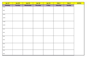 Weekly Planning Sheet (Editable)