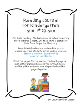 Kindergarten and 1st Grade Weekly Reading Journal with Awa