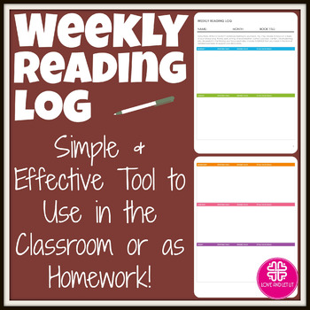 Weekly Reading Log for Any Book (Homework or In Class)