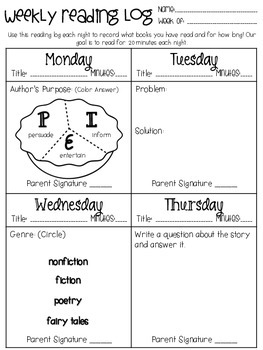 Weekly Reading Log- Skills Based