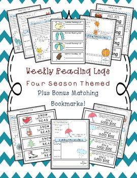 Weekly Reading Logs Seasonal Pack with BONUS Matching Bookmarks