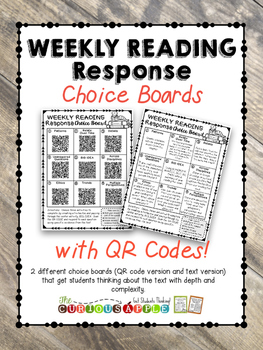 Weekly Reading Response Choice Boards with QR CODES (FICTI