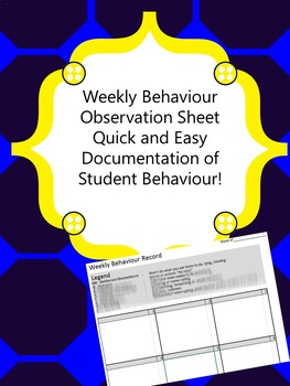 Weekly Record of Behavior Tracking Sheet and Observation T