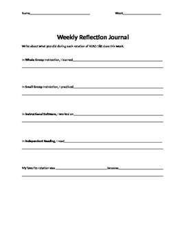 Weekly Reflection for Read 180