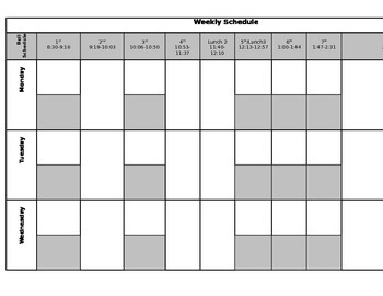Weekly Schedule / Self-Contained / Middle School / Special