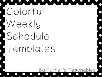 Colorful Weekly Schedule Template