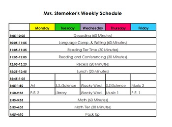 Weekly Schedule/Lesson Plan Template Editable