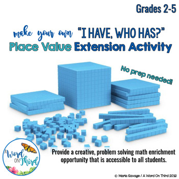 "FREE Place Value Enrichment Activity - DIY ""I Have, Who Has?"""