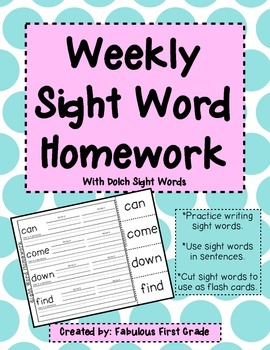 Weekly Sight Word Homework - Dolch List