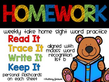 Weekly Sight Word Homework set 2