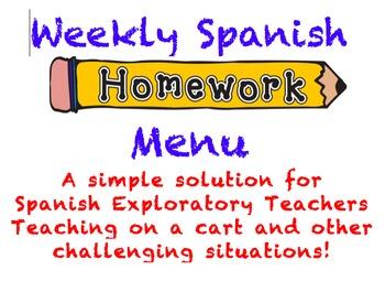 Weekly Spanish Homework Menu