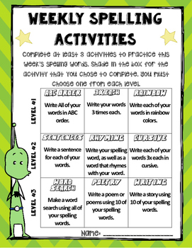 Weekly Spelling Choice Packet: Grades 3-5