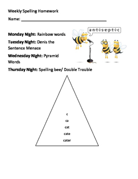 Weekly Spelling Homework Assignments