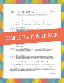Weekly Spelling Homework Worksheet with Activity Menu (Sample)