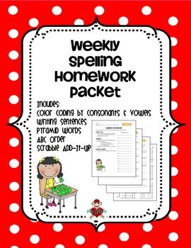 Weekly Spelling Homework Packet